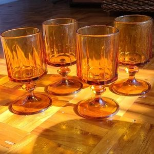 Set of 4 mid century amber goblets